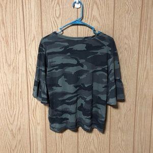 Splendid Tops - Splendid T-Shirt Camouflage Ruffle Sleeves